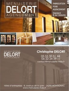 Carte de visite pour la société Menuiserie Delort Agencement - Création graphique par une Agence de communication en Dordogne