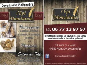 Flyer pour la boulangerie l'épi Monclarais à Monclar d'Agenais - création graphique, Agence de communication en Dordogne