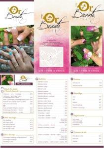Dépliant 3 volets pour le salon de beauté L'or Beauté à Montignac par l'Agence de communication en dordogne